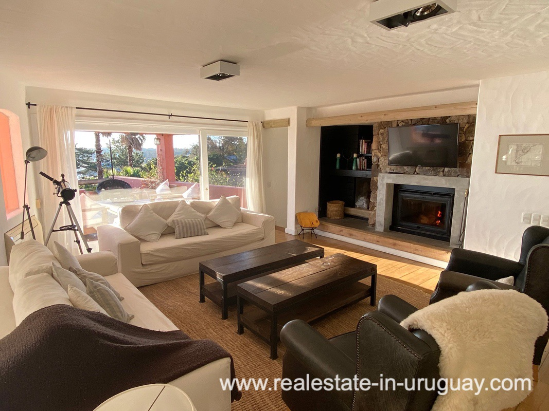 Living Room of Spectacular Remodeled House in Punta Ballena
