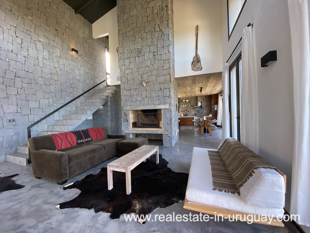Fireplace of Design Home in San Antonio near La Pedrera on the Beach