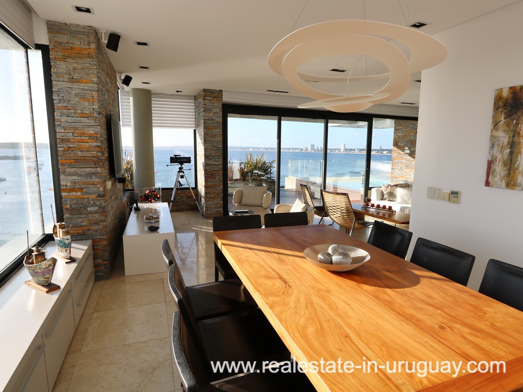 Dining Room of Penthouse by the Punta del Este Harbor