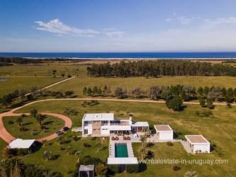 Aerial View of Modern Finca by Laguna Garzon near Jose Ignacio