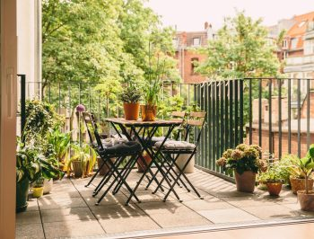 Balcony garden dining area