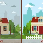 home before and after reparation illustration