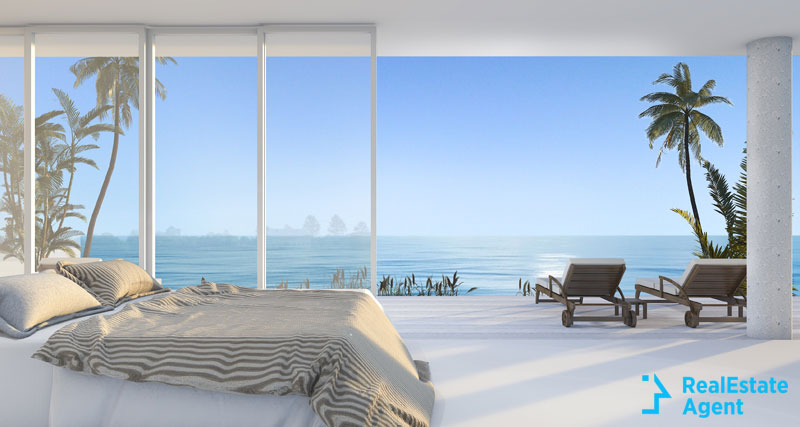 beautiful beach view from living room window