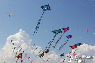 Kites flying in the sky in Bermuda during easter