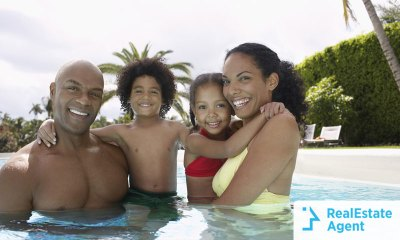 A family enjoying vacation by the pool