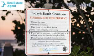 Florida red tide sign before entering the beach area