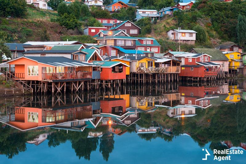 Chiloe Island colorful palafitos