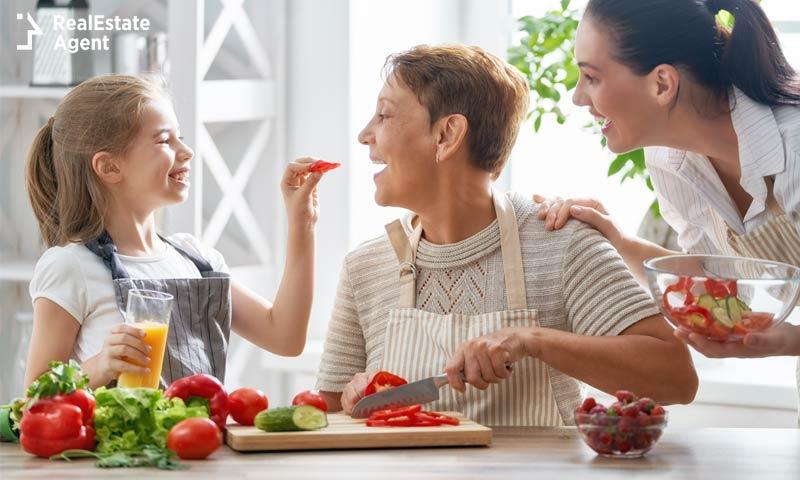 tasting vegetables from organic garden