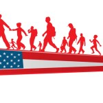 cartoon families holding hands as they move to the USA