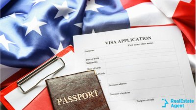 image of visa application form with the American flag as background and the passport