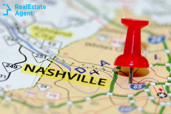 red pin pointing on the map to Nashville TN