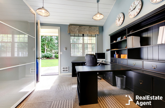 blue modern home office interior