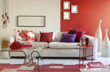 luxury living room red and white