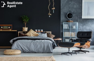 modern gray and black bedroom