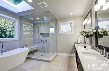 modern spacious bathroom in gray color