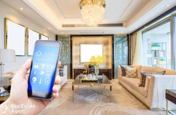 smart home app in modern living room