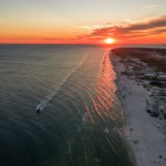 beautiful ocean sunset aerial view of gulf shores