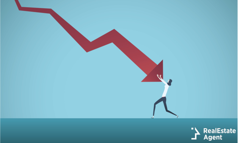 bankrupt businesswoman pushed by downward arrow
