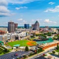 drone aerial of downtown greensboro