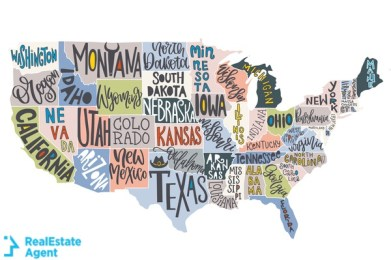 map with states in the US