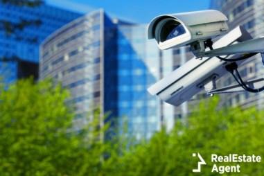 security camera in a city