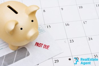 past due bill with a piggy bank calendar
