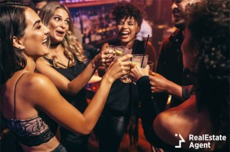 Girls night out in the club with drinks.