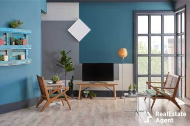 blue living room style wooden