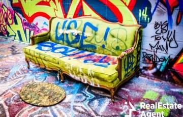couch graffiti alley in baltimore