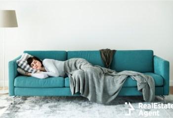 women sleeping on the sofa