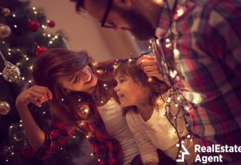 beautiful young family enjoying their christmas