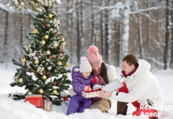 happy family give gifts