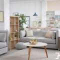stylish apartment interior with modern kitchen