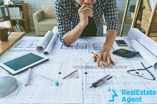 Architect working on table