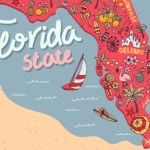 illustrated map with florida state