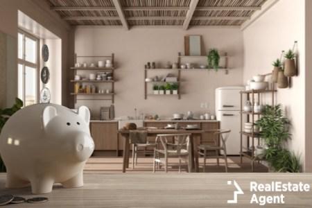 Piggy bank in front of elegant dining room