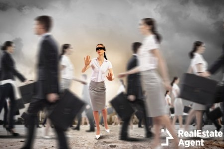 Image business woman in blindfold walking