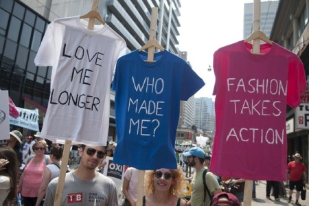 T-shirts hung in environmental protest