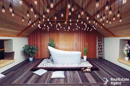 Beautiful bath in the attic night
