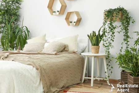 Stylish interior bedroom green houseplants