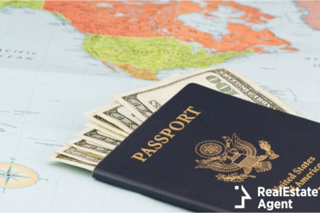 American passport with American currency
