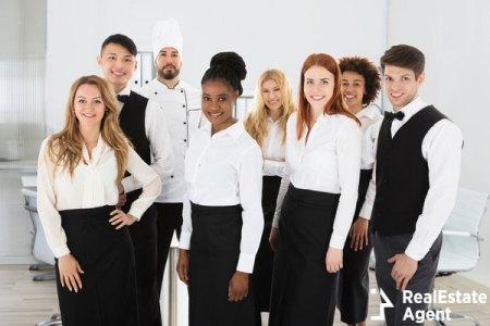 Multi ethnic restaurant staff