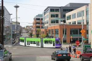 South_Lake_Union_Streetcar_with_First_Tech_Credit_Union_advertising-300x200 The South Lake Union Streetcar on Reduced Schedule