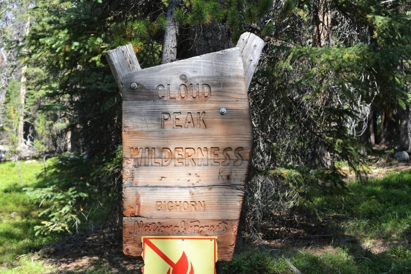 Lost Twin Lakes, Cloud Peak Wilderness Sign