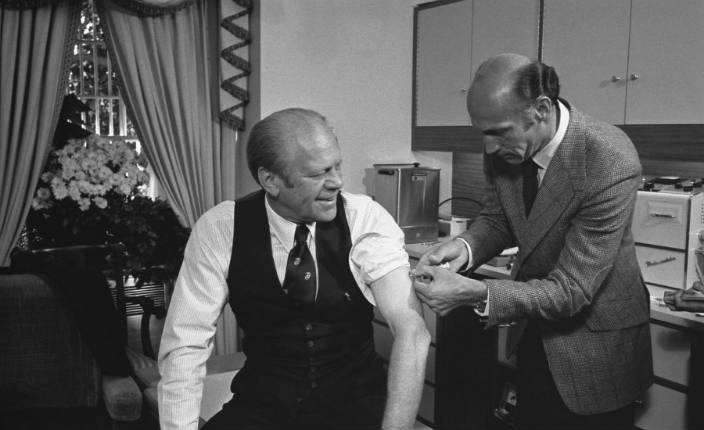 President Ford receives a swine flu inoculation