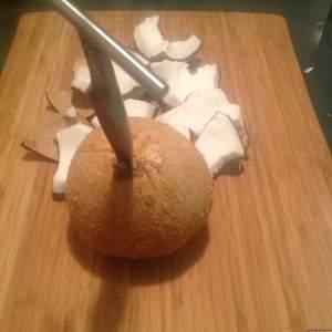 Pierce the coconut