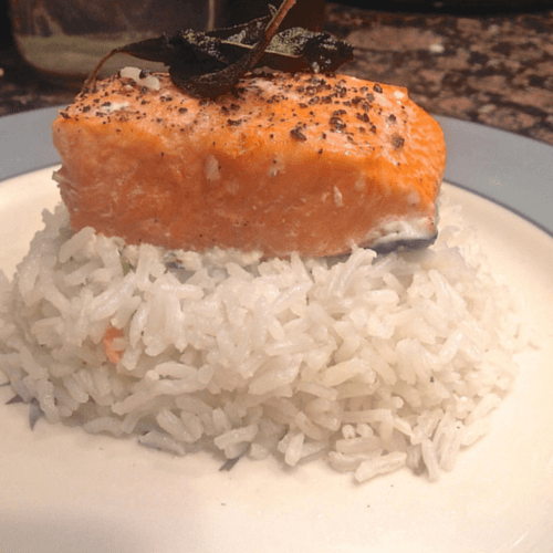 Salmon on rice