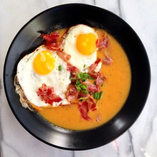 Truffle-Sage Cauliflower Soup with Eggs and Prosciutto