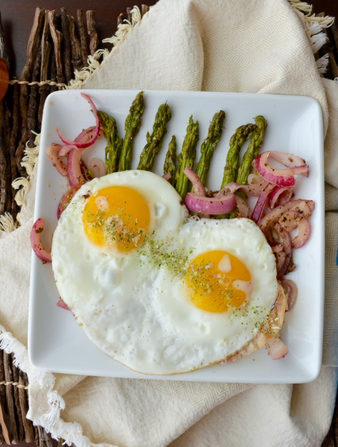 Roasted Asparagus with Fried Eggs and Pickled Onions
