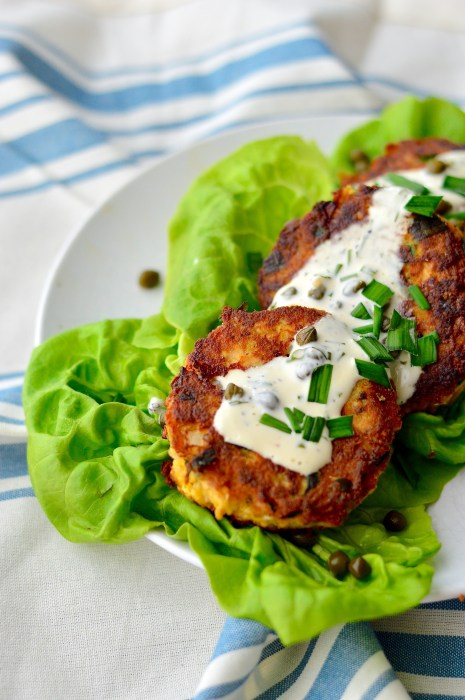 Pan-Fried Salmon Cakes & Caper-Dill Aioli - Real Food with Dana
